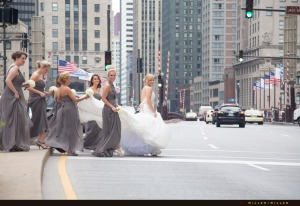 bride-walking-across-street-michigan-avenue-chicago-bridge