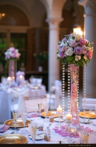 gold-purple-pink-reception-centerpieces
