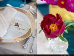 vibrant-gold-turquoise-pink-purple-table-settings